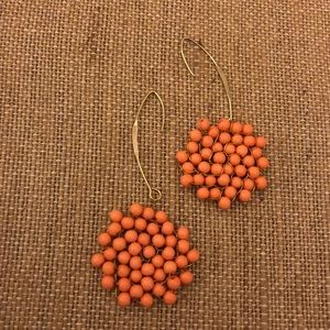 Goldtone and coral color earrrings